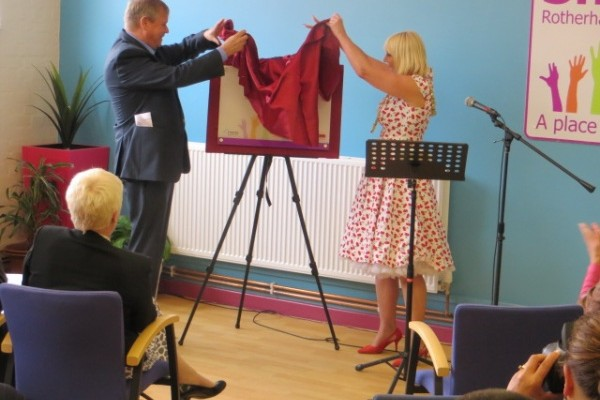 The Official Opening of Shiloh's new Centre with the unveiling of the commemorative plaque by Rotherham Mayor Cllr Eve Rose Keenan assisted by her Consort Pat Keenan