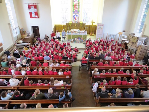 The Harvest Service with children from Thorpe Hesley Primary School.