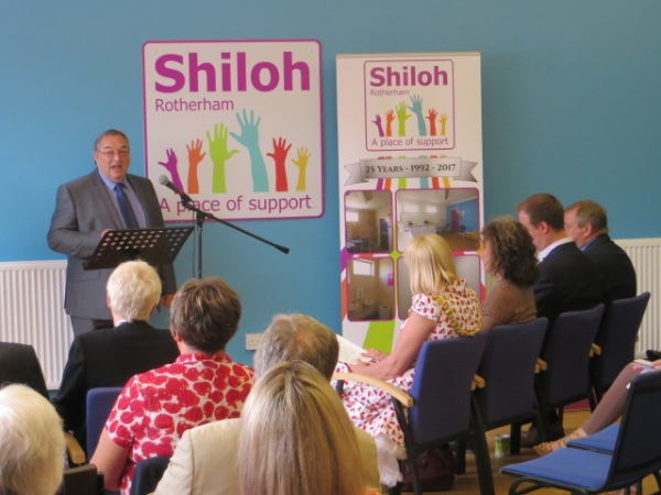 Shiloh's Chairman John McDonnell making the surprise announcement of the £250,000 Reaching Communities Award