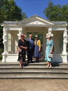 From left to right: Representatives of Shiloh attending the Queen's garden party at Buckingham Palace to celebrate the Queen's Award for Voluntary Service: Judy Dalton Volunteer Deputy Chair; John McDonnell, Shiloh Voluntary Chairman; Jane McDonnell, Voluntary Personal Assistant to the Chair; Linda Barnes, Welcome Team volunteer.